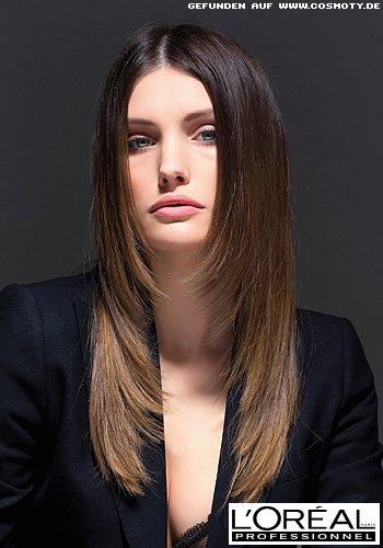 Frisuren Bilder Eleganter Sleek Look Mit Farbverlauf Von Braun Zu