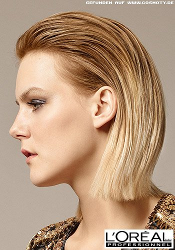 Eleganter Wet-Look für blonden, mittellangen Bob
