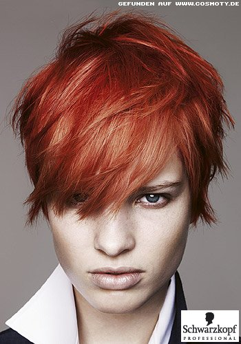 Frisuren Bilder Frecher Short Cut In Sattem Rot Frisuren