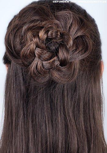Frisuren Bilder Geflochtene Rosette Zum Offenen Haar Frisuren Haare