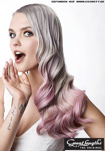 Glamourwellen mit rosa Spitzen