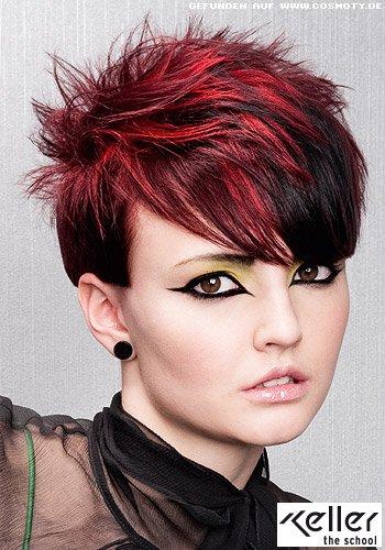 Frisuren Bilder Kurzes Haar Mit Auffallig Roten Strahnen Frisuren