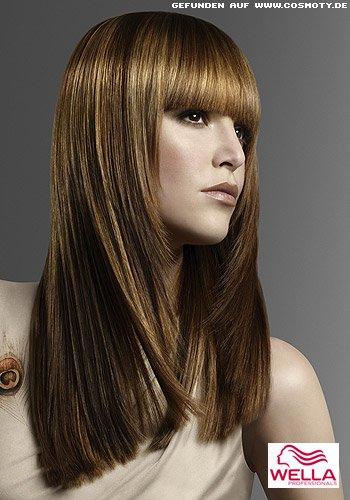 frisuren bilder langer sleek look mit blond gestr hntem pony frisuren haare. Black Bedroom Furniture Sets. Home Design Ideas