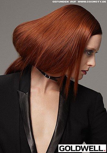 Langes Haar im Sleek-Look mit Halsband gebunden