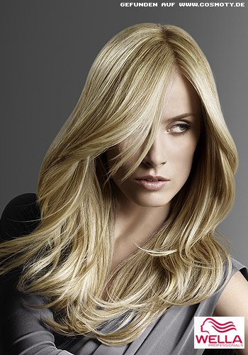 Frisuren Bilder Lnges Haar In Verschiedenen Blond Tönen Gesträhnt