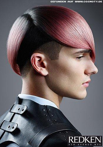 UnderCut in rosa-farbenen Längen zum grauen Ansatz