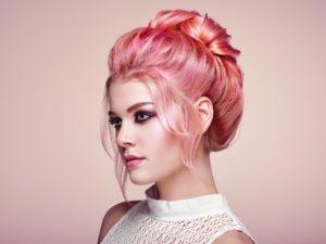 Pastellfarben Haare rosa Pastelltöne rosa auf blond